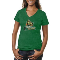 Wright State Raiders Ladies Distressed Primary Tri-Blend V-Neck T-Shirt - Green