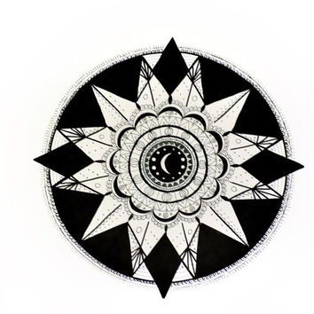 Moon mandala, A/3 original mandala drawing, black and white, pen drawing, zen, tattoo pattern, home decor, nursery decor, handmade, unique