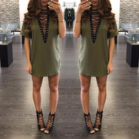 2017 New Summer T Shirt Dress 2017 Women Deep V Neck Lace Up  Sexy Bodycon Bandage Party Dresses Casual T-Shirt Dress