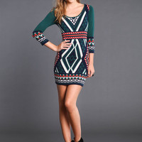 GREEN ART DECO SWEATER DRESS
