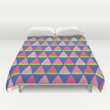 Watermelon Angles Duvet Cover by Ariel Lark