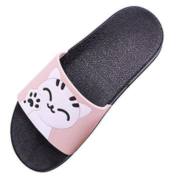 SITAILE Womens Slide Sandals Slip on Cute Outdoor Indoor Athletic Sport Slides Lucky Cat Slippers