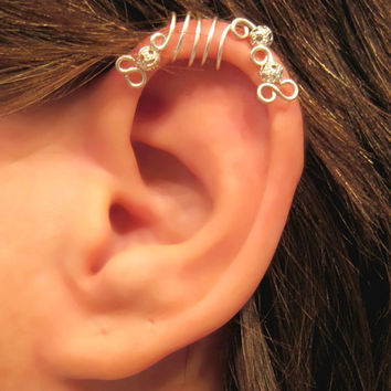 """No Piercing """"Silver Peacock"""" Cartilage Ear Cuff for Upper Ear 1 Cuff COLOR CHOICES"""
