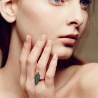 Turquoise and Diamond Grande Navette Ring in 14k Rose Gold by Arik Kastan Turquoise