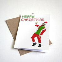Drake Inspired Holiday Greeting Card - Hotline Bling Merry Christmas - Dancing Drake in Santa Suit-  5 x 7 Seasons Greetings Happy Holidays
