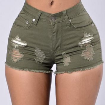 New Fashion show thin hole Cowboy shorts