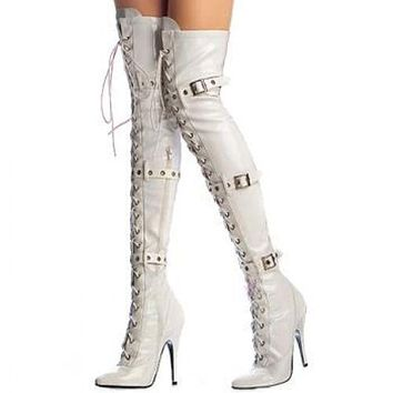 Lace Up Hasp Pointed Toe Over the Knee High Heel Long Boots