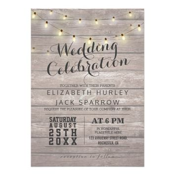 Rustic Wood and String Lights Wedding Invitations