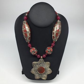 Turkmen Beaded Necklace Antique Afghan Tribal Red Carnelian flower Pendant VS192