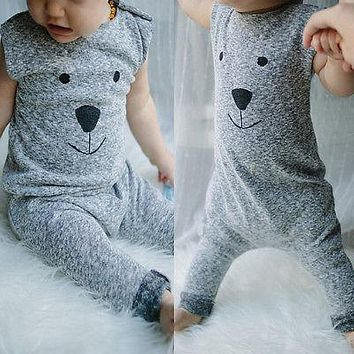 Toddler Newborn Baby Girls Boys Cartoon Fur Bear Knit Sleeveless Romper Playsuit Jumpsuit 1PCS Outfits Clothes