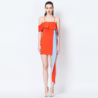 Orange Casual Ruffle Spaghetti Strap Mini Dress