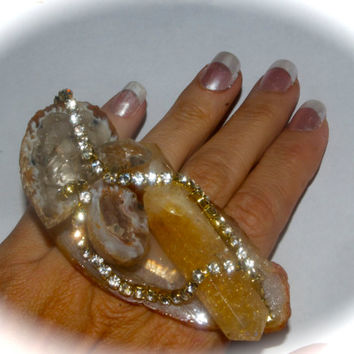 Geode,Citrine, crystal ,rhinestone ,statement ring,handring by Josette Redwolf Agate Slice, Cocktail Ring,Adjustable Ring,citrine point ring