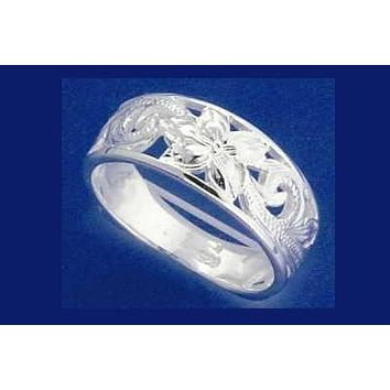 STERLING SILVER 925 HAWAIIAN PLUMERIIA FLOWER SCROLL CUT OUT RING SIZE 2 - 14