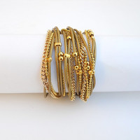 Two-in-one - Wrapped bracelet or necklace. Olive green round leather & gold plated chains and beads