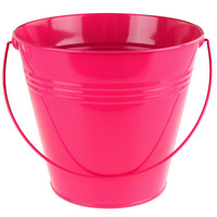 Metal Pail Buckets Party Favor, 7-inch, Fuschia