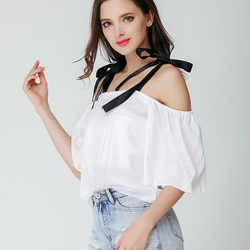 White Off Shoulder Tie Detail Blouse