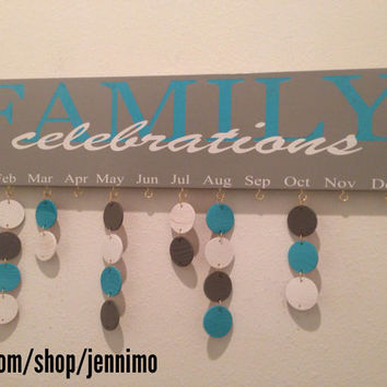 Family Birthday Celebration Board Calander