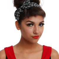 LOVEsick Black & White Anchor Bow Stretch Headband