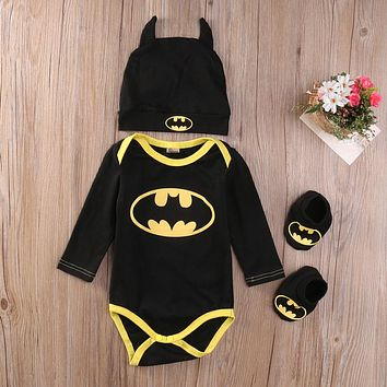 Pudcoco 2017 baby Boys clothes Set  Cool Batman Newborn Infant Baby Boys Romper+Shoes+Hat 3pcs Outfits Set Clothes