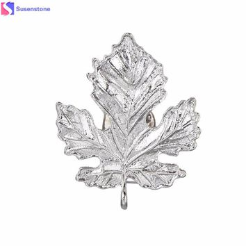 2016 new arrival Korean Women Maple Leaf Alloy Corsage Brooch Collar Pin Jewelry 2  colours fashion ornamentation high quality