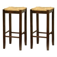 Set of 2- Solid Wood Bar Stool in Walnut with Rush Seat