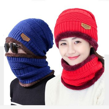 Winter Warm Riding Cycling Knitted Beanies Skullies Caps For Men New Women Knit Hat Neck Warmer +Casual Collar Hats Sets