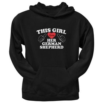 CREYCY8 Valentine's Day - This Girl Loves Her German Shepherd Adult Pullover Hoodie