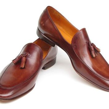 Paul Parkman (FREE Shipping) Men's Tassel Loafers Brown Hand Painted Leather (ID#049-BRW)