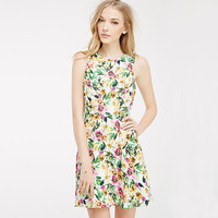 2016 Spring Summer Casual Fashion Hot Backless Strap Colorful Floral Women One-piece Dress