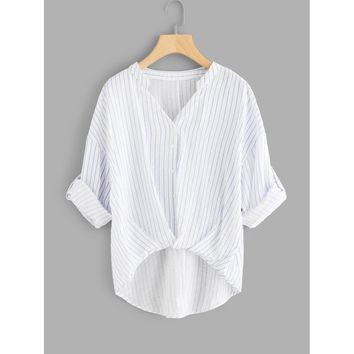 Rolled Up Sleeve Striped Dip Hem Blouse White Casual
