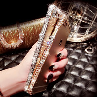 handmade iphone 7 6 6s plus diamond frame case cover