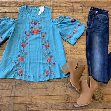 Colors of Cartagena Top in Turquoise