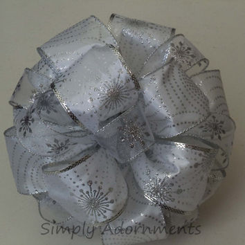 White Silver Christmas Bow Silver Snowflakes Christmas Tree Bow Winter Wedding Bow Holiday Xlarge Gifts Bow
