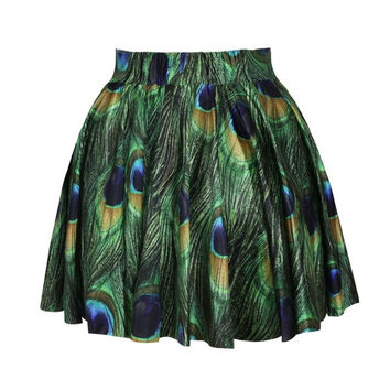 summer skirts womens pleated skirts The peacock feather printed SKIRT Saia S M L XL plus size = 1956245828