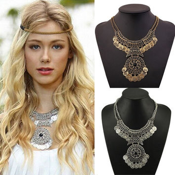 Women Bohemian Festival Jewelry Double Chain Coin Statement Necklace = 1928625156