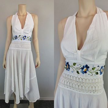 Vintage Embroidered Blue Daisy Poppy Mexican Gauze Crochet Dress Handkerchief Floral Cotton Scarf Hem Halter Hippie Wedding Boho Dress
