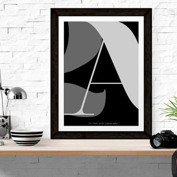 "Scandinavian Letter Art Print 24 x 36"" /2A/ -  Modern Typography / Nordic Interior Design Art - Minimalist Black and White Modern Poster"