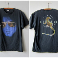 80s Jim Morrison, The Lizard King, Perfectly Distressed Double Sided Classic Retro Rock T-Shirt -- Size XL