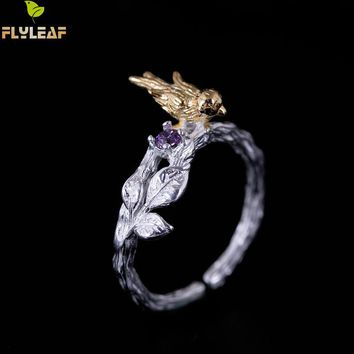 Flyleaf 100% 925 Sterling Silver Gold Color Branch Bird Open Rings For Women Handmade Lady Chinese Style Fashion Jewelry