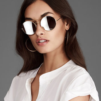 Illesteva Delon Mirrored Lense Gold-Tone Sunglasses at INTERMIX | Shop Now | Shop IntermixOnline.com