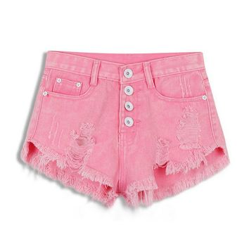 Women's Cute Pink Comfortable High Waist Ripped Fringe Denim Shorts