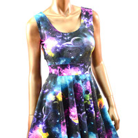 Galaxy Print Fit and Flare Tank Skater Dress