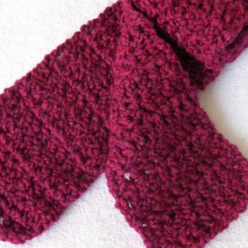 Crochet Scarf in Homespun pink fuschia