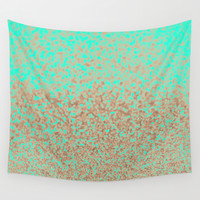 Gold and Mint Wall Tapestry by Cafelab