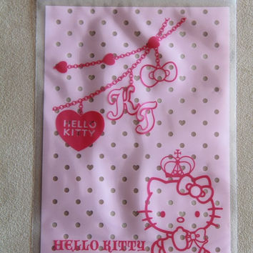 10 pcsTransparent Poly / Cello Ziplock Bags Sanrio Hello Kitty With Crown And Chain light pink