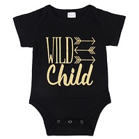 Newborn Baby Boys Girls Kid Short Sleeve Cotton Rompers Arrow letters Jumpsuit Playsuit Outfits Clothes