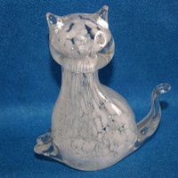 Collectible Unmarked Figural Glass Cat Paperweight Crystal With White Flake Interior