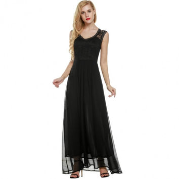 Women Casual V Neck Sleeveless Vintage Style Maxi Long Full Gown Dress