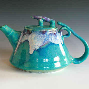 Mika New Moon Teapot Handmade porcelain pottery by ocpottery