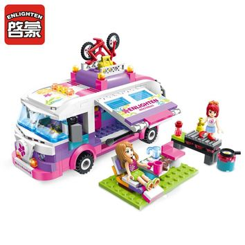 Enlighten 2017 New 2004 city ride girls bus car building blocks set bricks model kids present compatible toys friends gifts